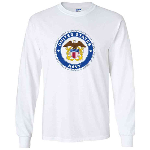 officially licensed u s navy emblem anchor white long sleeve shirt