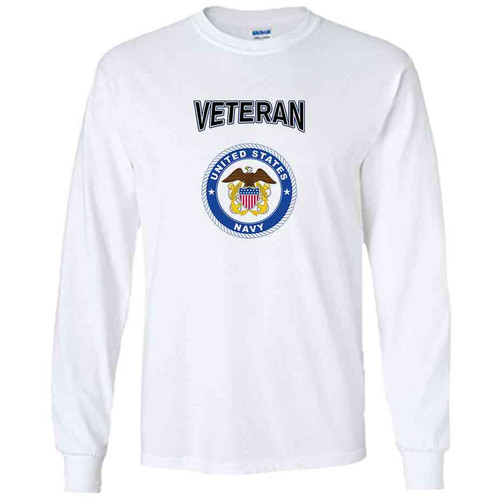 officially licensed u s navy emblem anchor veteran white long sleeve shirt