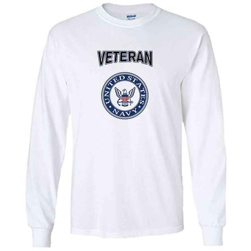officially licensed u s navy emblem blue veteran white long sleeve shirt