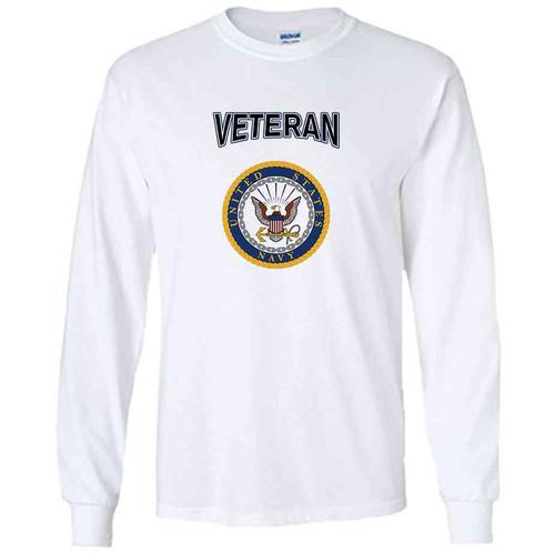 officially licensed u s navy gold emblem veteran white long sleeve shirt