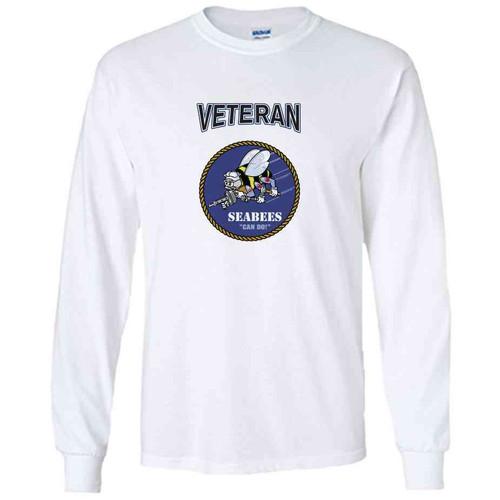 officially licensed u s navy seabees veteran white long sleeve shirt