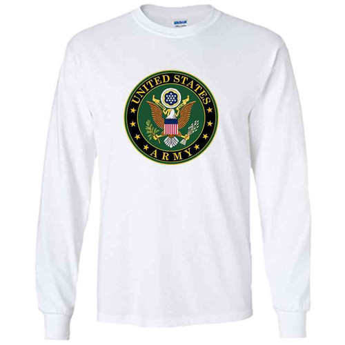 officially licensed u s army crest white performance long sleeve shirt