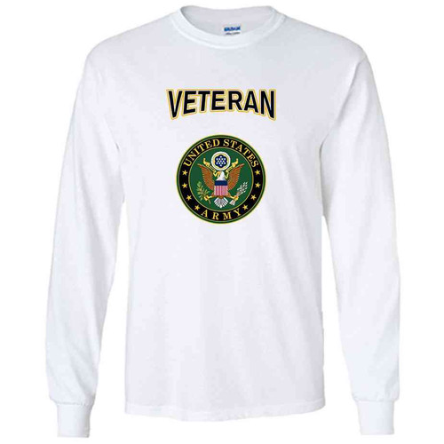 officially licensed u s army crest veteran white performance long sleeve shirt