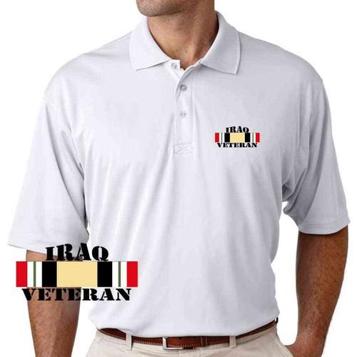 iraq veteran ribbon performance white polo shirt
