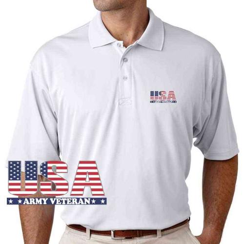 usa army veteran performance white polo shirt
