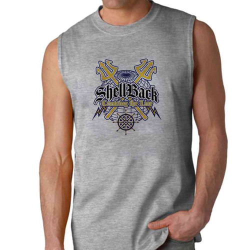 navy shellback crossing line sleeveless shirt