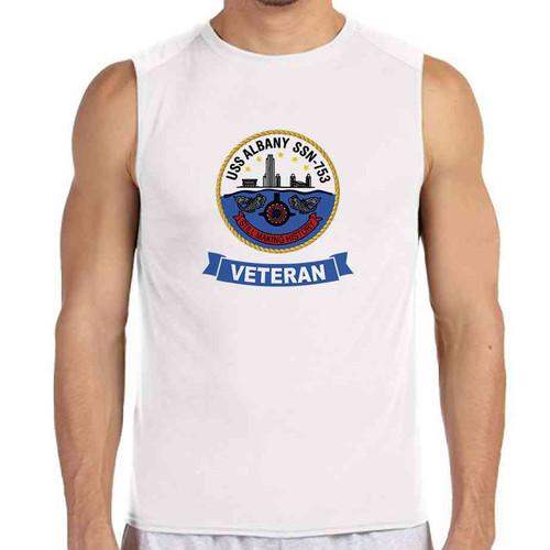 uss albany veteran white sleeveless shirt