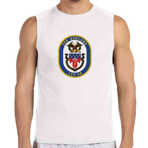 uss ashland white sleeveless shirt