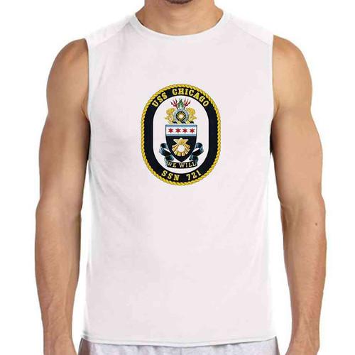 uss chicago white sleeveless shirt