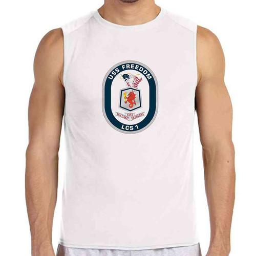 uss freedom white sleeveless shirt