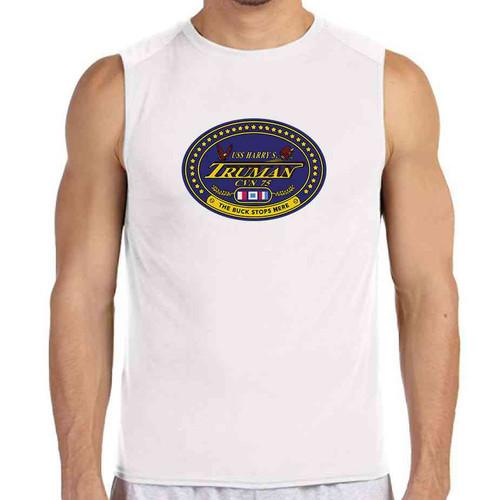 uss harry s truman white sleeveless shirt