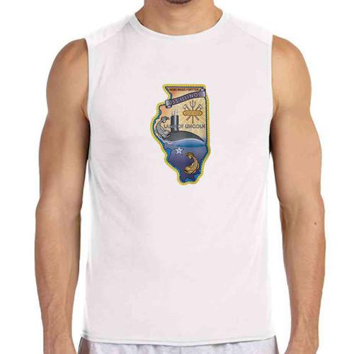uss illinois white sleeveless shirt