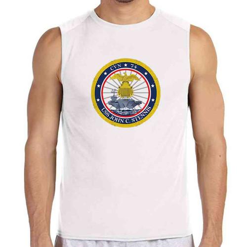uss john c stennis white sleeveless shirt