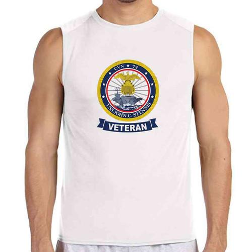 uss john c stennis veteran white sleeveless shirt