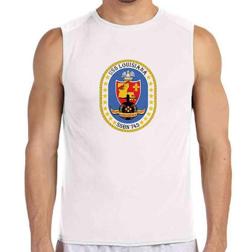 uss louisiana white sleeveless shirt