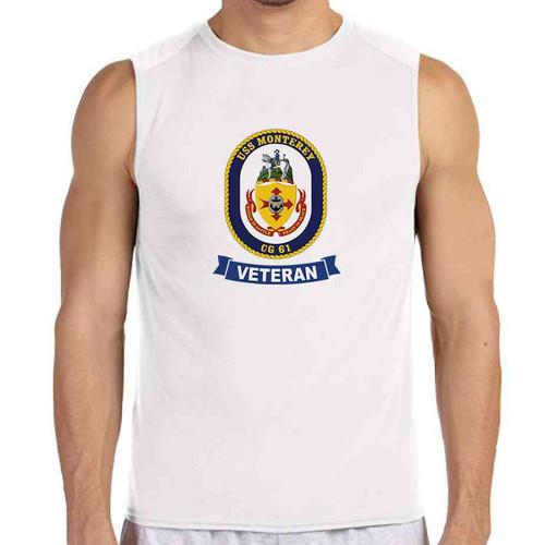 uss monterey veteran white sleeveless shirt