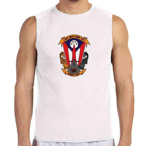 uss ohio white sleeveless shirt