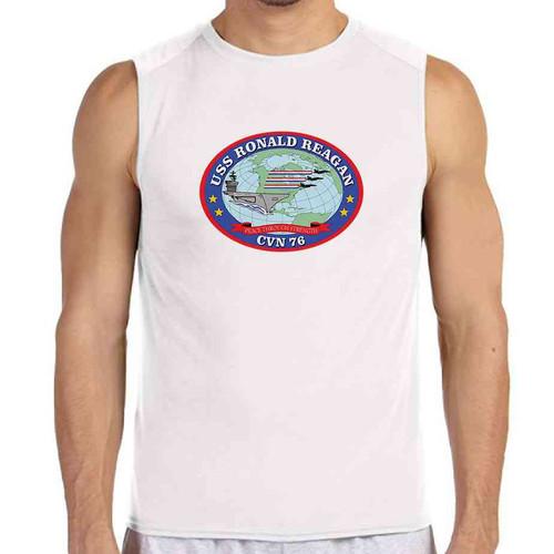 uss ronald reagan white sleeveless shirt