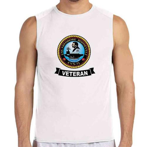 uss theodore roosevelt veteran white sleeveless shirt