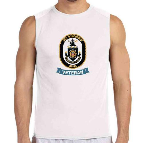 uss wisconsin veteran white sleeveless shirt