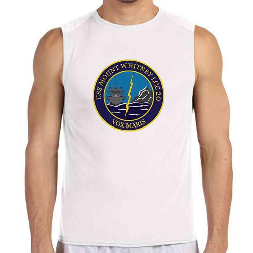 uss mount whitney white sleeveless shirt
