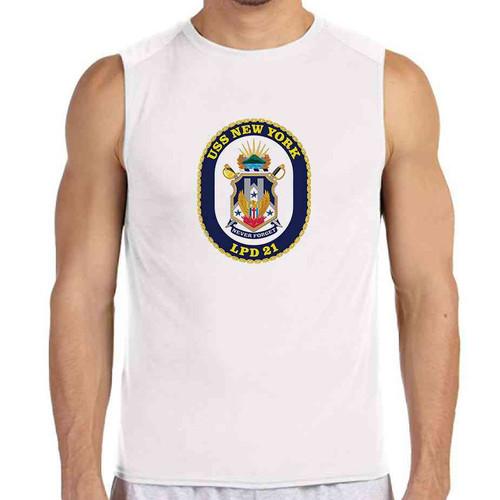 uss new york white sleeveless shirt