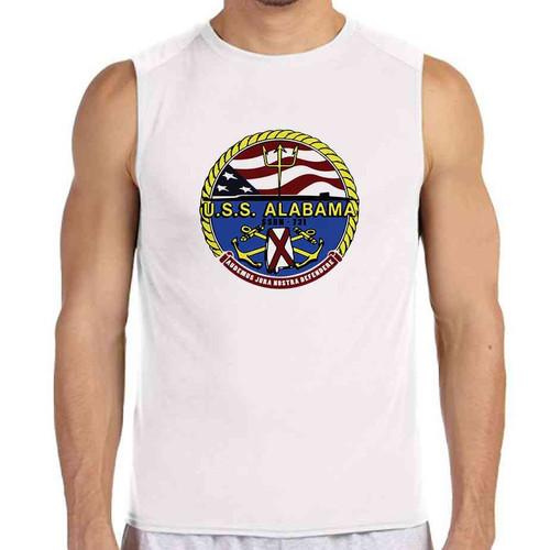 uss alabama white sleeveless shirt