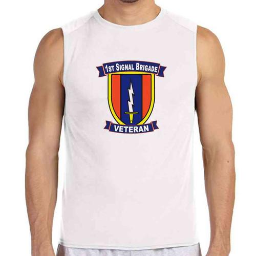 1st signal brigade veteran white sleeveless shirt