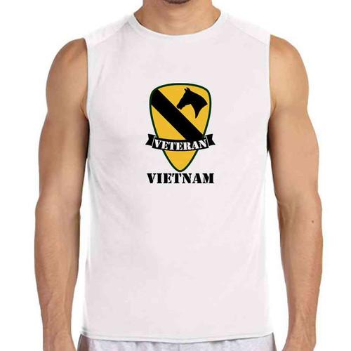 army 1st cavalry division vietnam veteran white sleeveless shirt