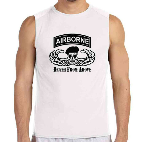 airborne death from above white sleeveless shirt