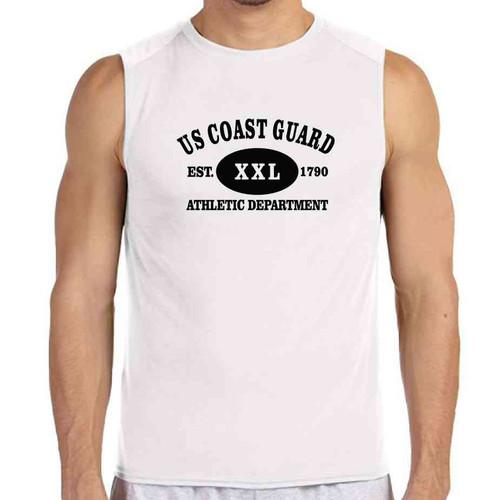 coast guard athletic dept white sleeveless shirt