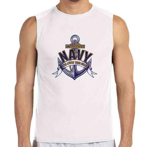 navy we own seas white sleeveless shirt