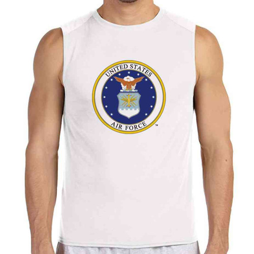 officially licensed u s air force emblem white sleeveless shirt