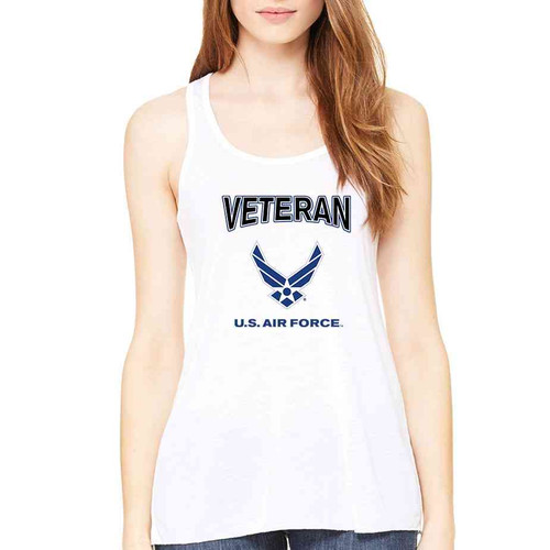 us air force veteran wings ladies white sleeveless shirt