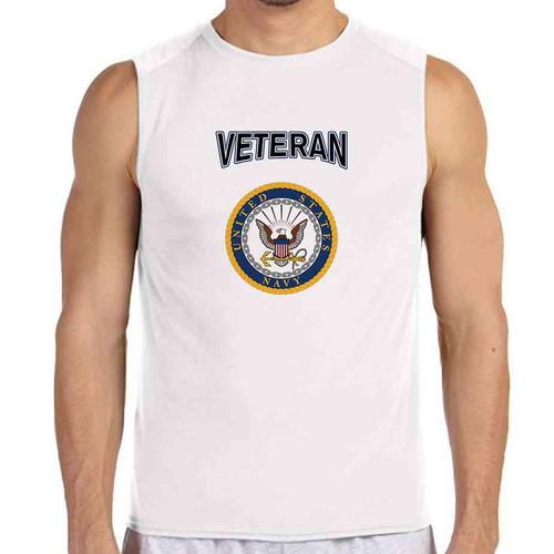officially licensed u s navy gold emblem veteran white sleeveless shirt