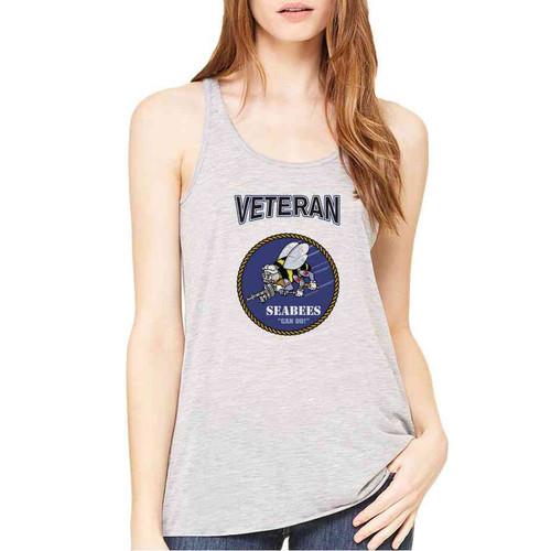 officially licensed u s navy seabees veteran ladies gray tank top