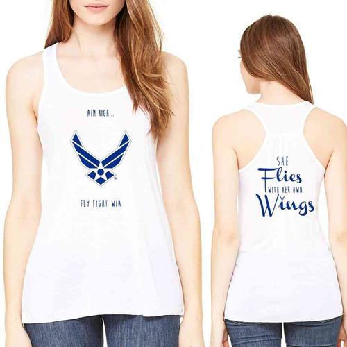 just arrived u s air force she flies her own wings ladies tank top