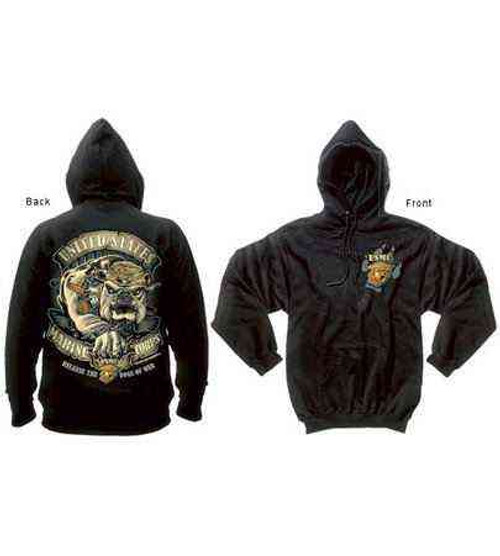 marines bulldog pullover hooded sweatshirt