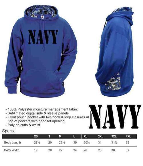 navy performance digital camo hooded sweatshirt