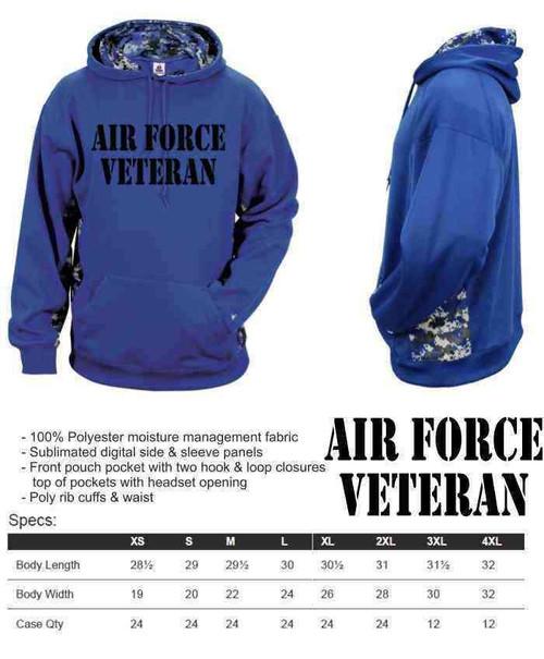 air force veteran performance digital camo hooded sweatshirt