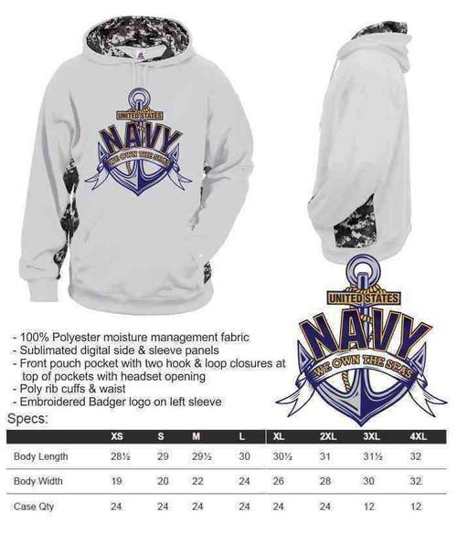 navy we own seas performance digital camo hooded sweatshirt