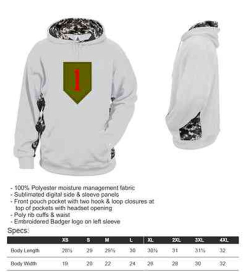 army 1st infantry division performance digital camo hooded sweatshirt