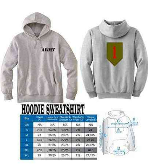 army 1st infantry division hoodie sweatshirt