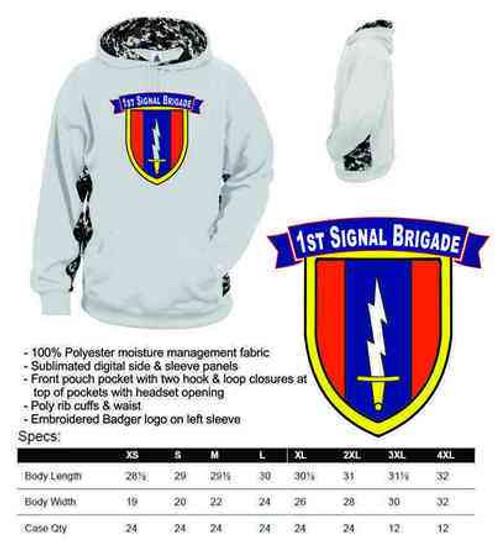 army 1st signal brigade digital hoodie