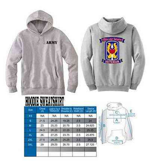 army 199th light infantry veteran hoodie sweatshirt