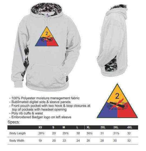 army 2nd armored division performance digital camo hooded sweatshirt