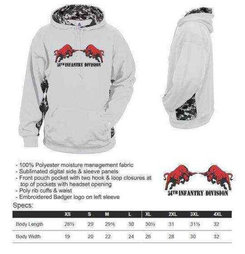 army 34th infantry division bull digital camo hooded sweatshirt
