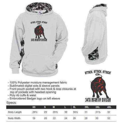 army 34th infantry division motto digital camo hooded sweatshirt