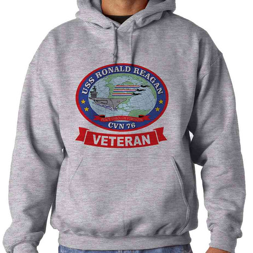 uss ronald reagan veteran hooded sweatshirt