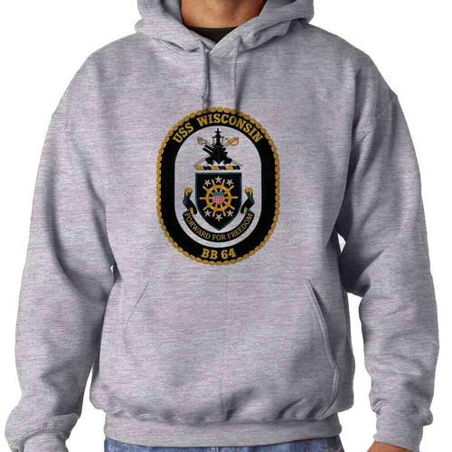 uss wisconsin hooded sweatshirt